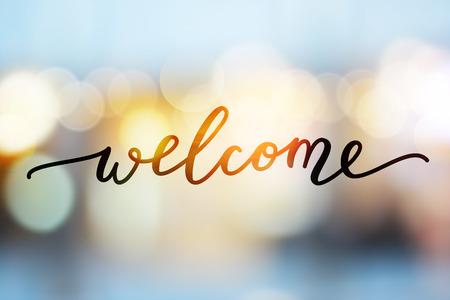 Illustration pour welcome vector lettering on blurred lights background - image libre de droit