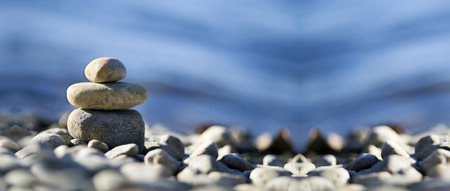 Photo for Relax Zen stones on the sea beach - Royalty Free Image