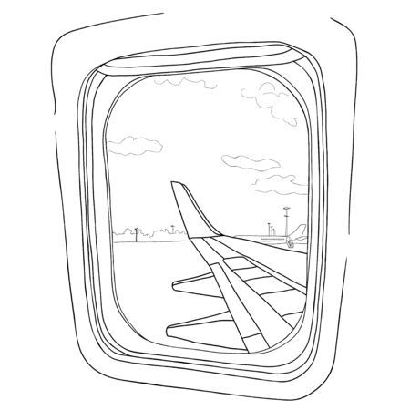 Illustration Sketch View From The Airplane Window On A White