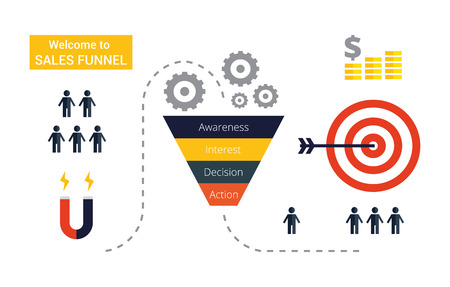 Illustration pour Business infographics with stages of a Sales Funnel, audience, clients, target and profit. Lead and internet sales concept with funnel. - image libre de droit