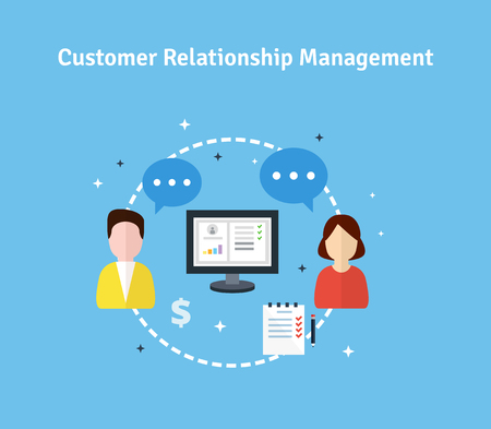 Customer Relationship Management. Flat icons of target, objectives, support, deal.  Concept of the organization of data on work with clients. CRM and accounting system. Vector illustration.