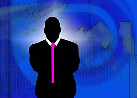 man with pink tie on a abstract city background