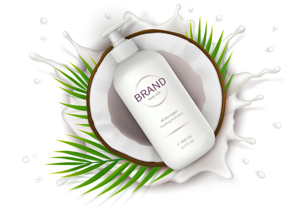 Illustration pour Cosmetic ad realistic vector. White dispenser bottle with lotion and half of coconut on background of milk splash. Mock up promo banner for catalog, concept poster for natural organic cosmetics - image libre de droit