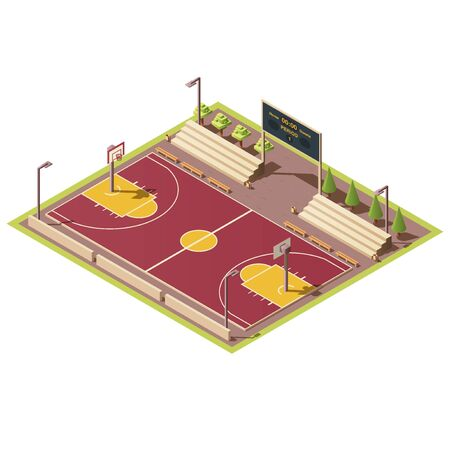 Illustration for Vector 3d isometric stadium with field for street basketball games, tribune, fence, scoreboard, basket and hoop. Empty sport arena with urban basketball court. Isometry isolated on white background. - Royalty Free Image