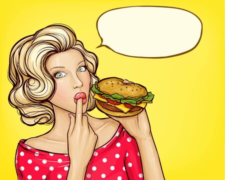 Illustration for pop art illustration of girl with burger licking finger, isolated on yellow background. Beautiful young woman holding in hand tasty huge hamburger. Fast food advertising concept - Royalty Free Image