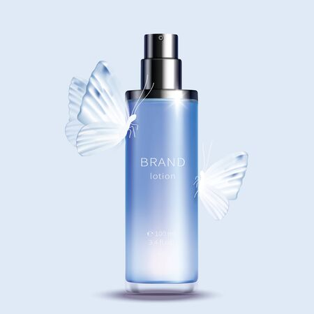 Illustration pour Vector cosmetic realistic product. Blue glass spray bottle with glossy silver dispenser and white butterflies on it isolated on light background, premium cosmetics design - image libre de droit