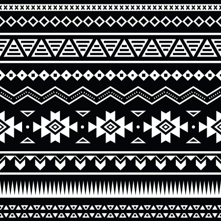 Aztec Tribal Pattern - Black And White
