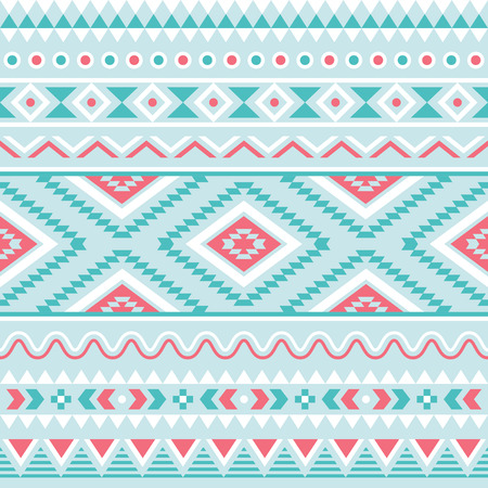Tribal seamless pattern aztec blue and pink background