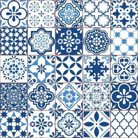 Illustration for Lisbon geometric Azulejo tile vector pattern, Portuguese or Spanish retro old tiles mosaic, Mediterranean seamless navy blue design - Royalty Free Image