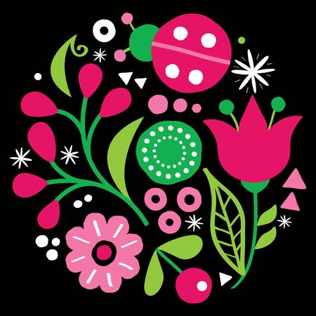 Illustration pour Floral folk art vector design, pattern with flowers and ladybird in green and pink - Scandinavian greeting card or invitation, hand drawn style - image libre de droit