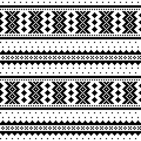 Illustration for Winter cross-stitch vector monochrome pattern inspired by Sami people folk art in Lapland - Scandinavian - Royalty Free Image