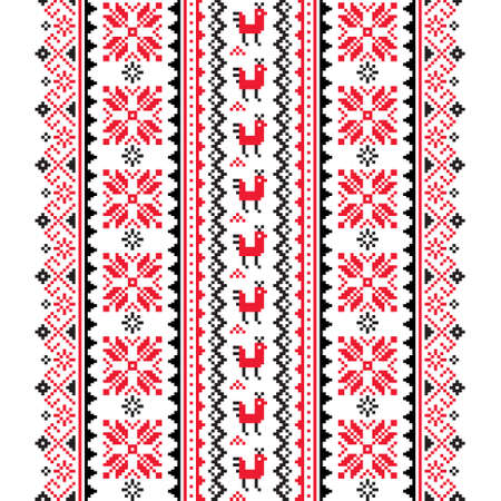 Illustration for Ukrainian, Belarusian folk art vector seamless pattern in red and black, inspired by traditional cross-stitch design Vyshyvanka - Royalty Free Image