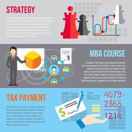 Set of flat design concepts of business strategy, MBA course and tax payment on colored background