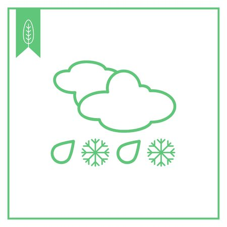 Icon of clouds with falling snowflakes and raindrops