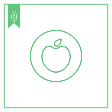 Icon of vegan sign with apple in circle