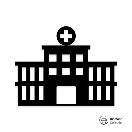 Ilustración de Vector icon of hospital building front silhouette - Imagen libre de derechos