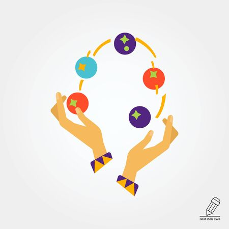 Icon of human hands juggling with balls