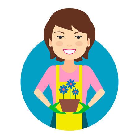 Female character, portrait of smiling woman holding pot with flowersのイラスト素材