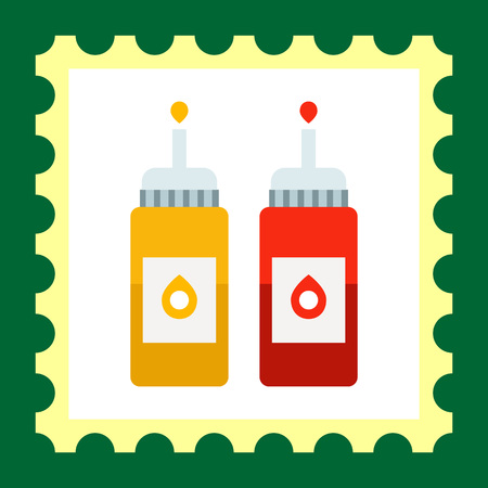 Vector icon of ketchup and mustard bottles with dispenser