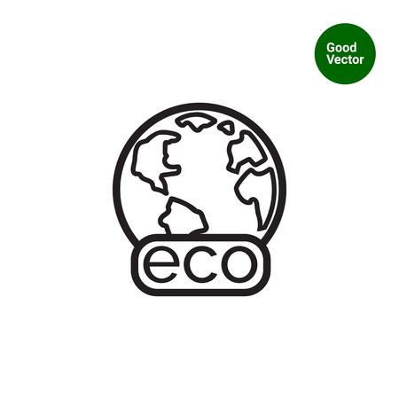 Icon of Earth globe with Eco banner