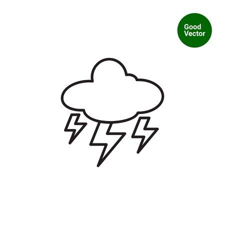 Icon of cloud with lightning