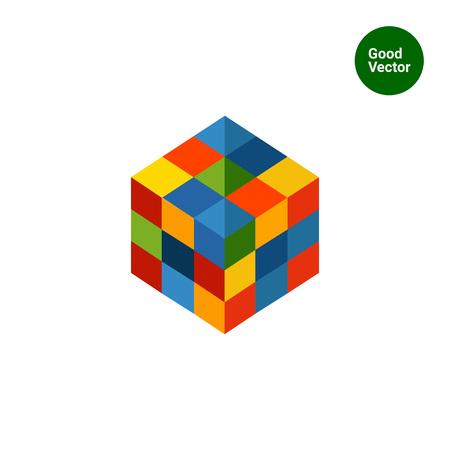 Illustration pour Multicolored vector icon of square rubik cube - image libre de droit