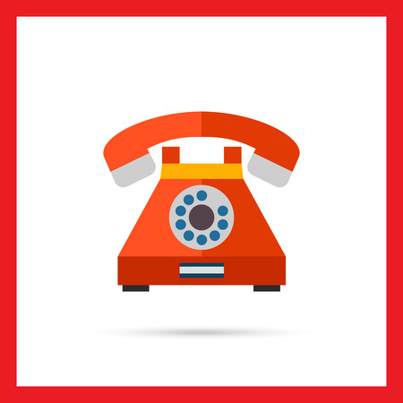 Illustration pour Multicolored vector icon of retro telephone with dialing disk - image libre de droit
