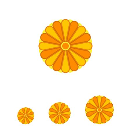Illustration pour Stylized Japanese yellow chrysanthemum ornament element with many petals colored in different tints of yellow - image libre de droit