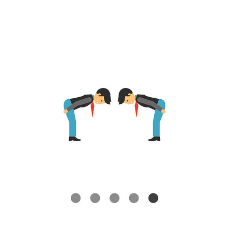 Multicolored vector icon of two men bowing to each other from waist showing respect