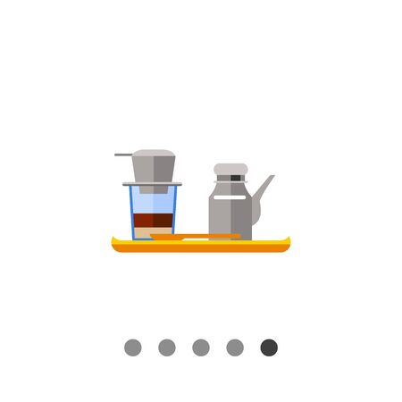 Icon Of Vietnamese Coffee Set Coffeepot And Cup With Filter On It On Wooden Tray Royalty Free Vector Graphics