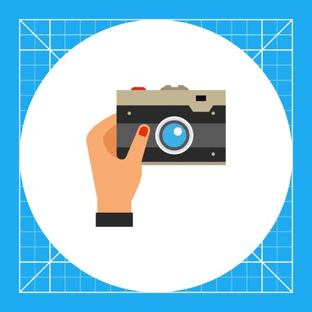 Hand with camera taking selfie photo. Lens, memory, gadget. Selfie concept. Can be used for topics like social media, technology, gadgets.