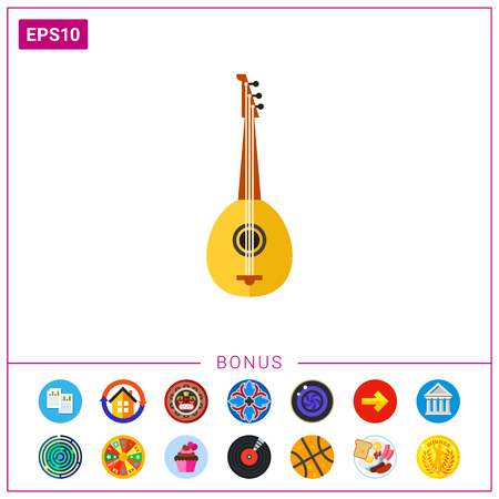 Icon of bouzouki. Audio, music instrument, orchestra. Music concept. Can be used for topics like music, festival, Cyprus culture