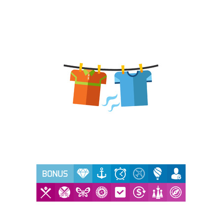 Two t-shirts hanging on line. Clothes, drying, clean. Washing concept. Can be used for topics like chemistry, housekeeping, marketing.