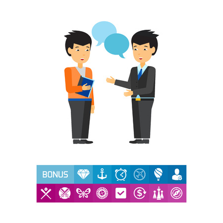 Illustration pour Communication between businessmen icon - image libre de droit