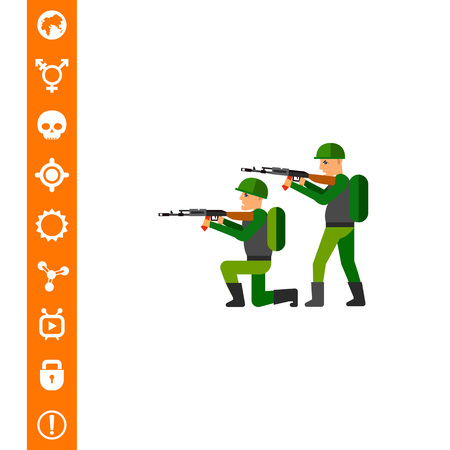 Fighting Concept Icon with Military Men