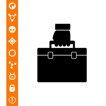 Monochrome vector icon of business case being carried in hand