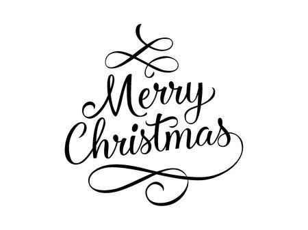 Illustration pour Merry Christmas lettering with swirls - image libre de droit