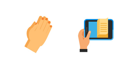 Hands with objects icon set
