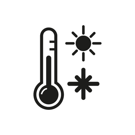 Illustration for Icon of thermometer device. Measuring temperature, sun, snowflake. Season concept. Can be used for topics like temperature gradient, climate, meteorology - Royalty Free Image
