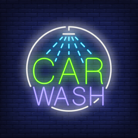 Car wash neon text and shower icon