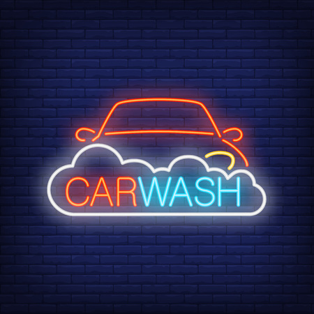 Carwash neon text with automobile and foam design.