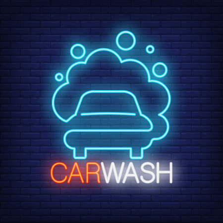 Carwash neon lettering and automobile with foam icon.