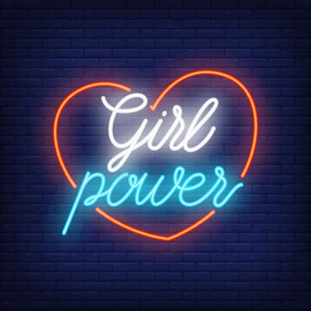 Girl power neon text in heart outline.