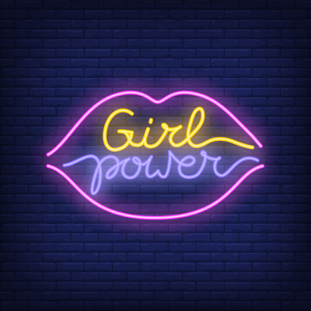 Girl power neon text in lips outline icon.