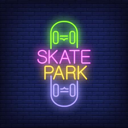Skate park neon text on skateboard icon.