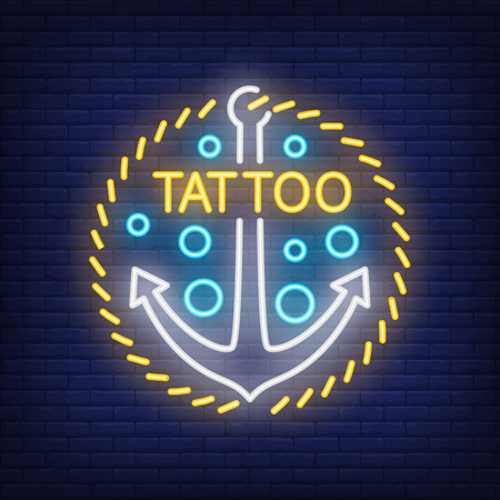 Tattoo neon word and anchor sign.
