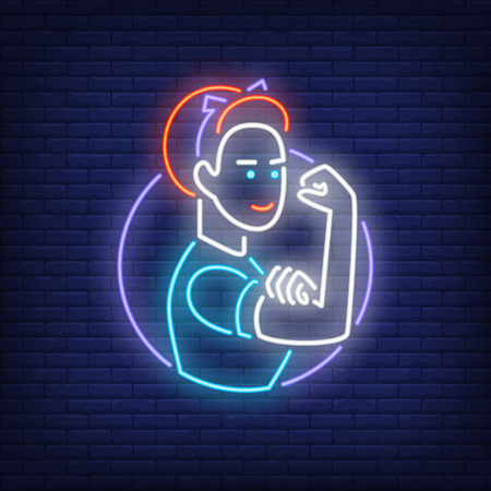 Woman showing bicep in neon outline.