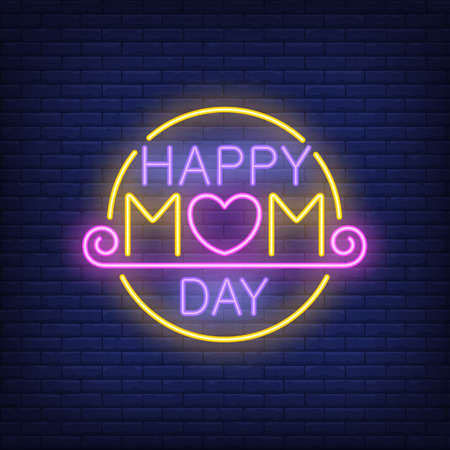 Happy mom day neon sign with creative text with heart and underling with swirl element in yellow round.