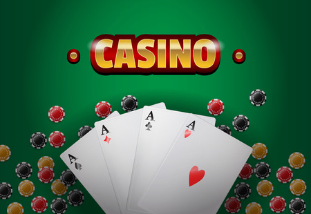 Casino lettering, four aces and chips. Casino business advertising design. For posters, banners, leaflets and brochures.