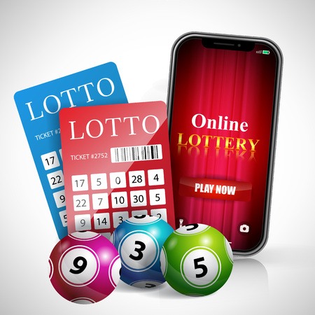 Online lottery play now lettering on smartphone screen, tickets and balls. Casino business advertising design. For posters, banners, leaflets and brochures.
